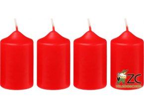 Svíčka adventní - červená (4ks)