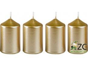 Svíčka adventní - metalická bílé zlato(4ks)