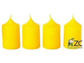 Svíčka adventní - žlutá (4ks)