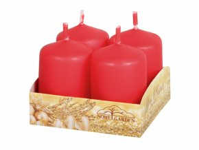 Svíčka adventní matná červená 4ks