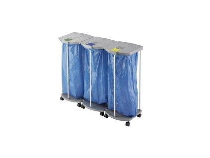 Stojan na tříděný odpad ProfiLine WS 120 - Mobilní velkoobjemový třídič odpadu –3 x 120 litrů