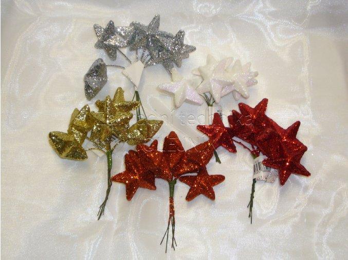 Dekorace - vánoční přízdoba - hvězda glitter
