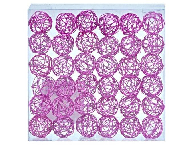 Dekorace - kuličky drátěné růžové 2 cm