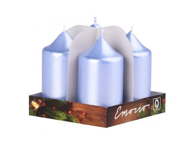 Svíčka válec 4 ks 40 x 75 - metal sv. modrá