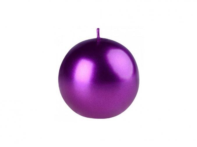 Svíčka koule 56 mm Metal sytě fialová