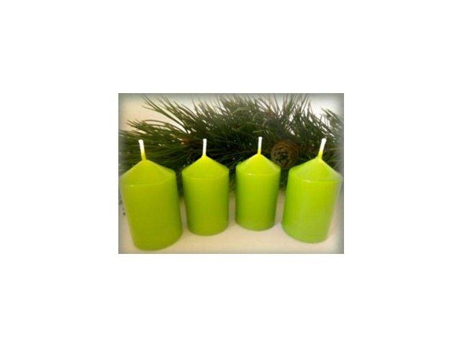 Svíčka adventní 40 x 60 mm 4 ks světlá zelená