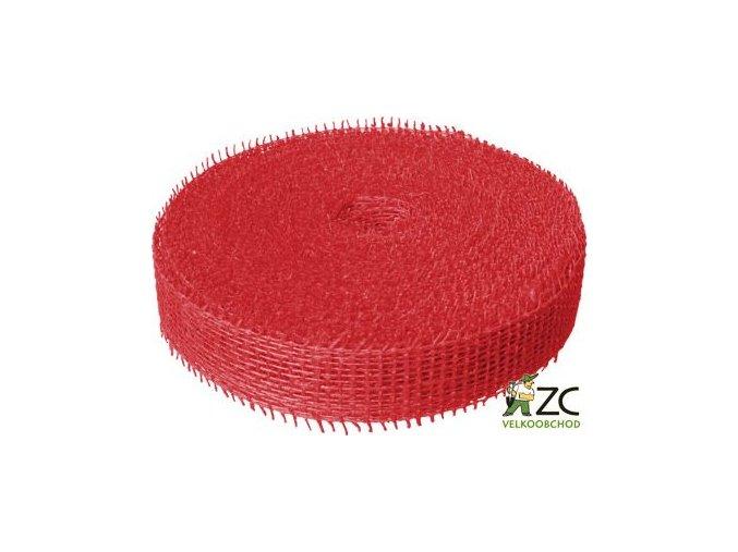 Jutová stuha 4 cm x 25 m - červená