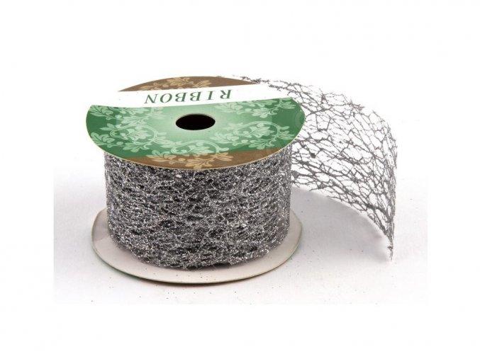 Stuha Fibre třpyt 4 cm x 4,6 m - stříbrná