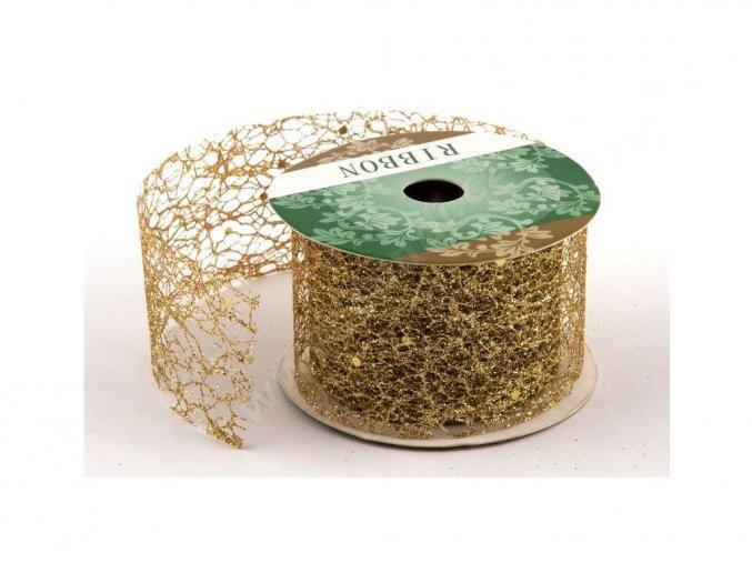 Stuha Fibre třpyt 4 cm x 4,6 m - zlatá