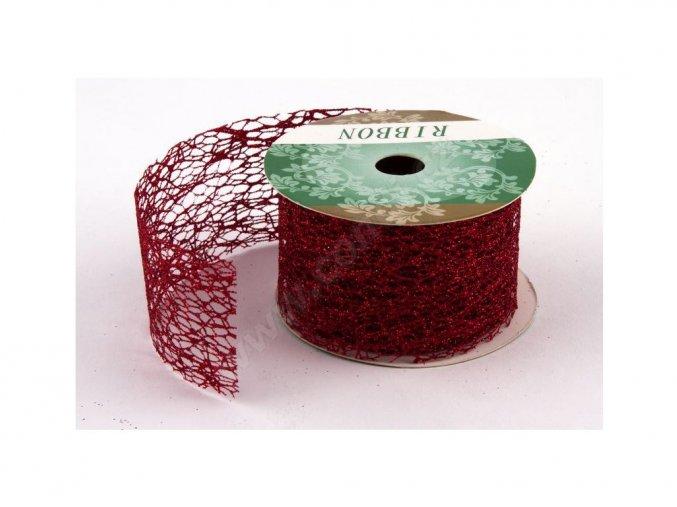 Stuha Fibre třpyt 4 cm x 4,6 m - červená