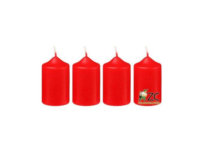 Svíčka adventní 40 x 60 mm  4 ks - červená