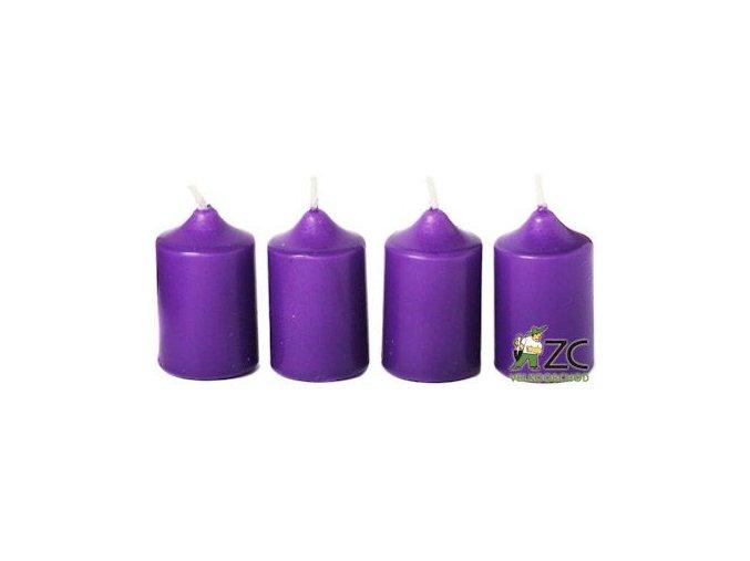 Svíčka adventní 40 x 60 mm  4 ks - fialová