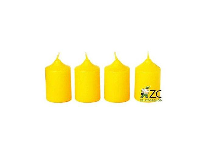 Svíčka adventní 40 x 60 mm  4 ks - žlutá