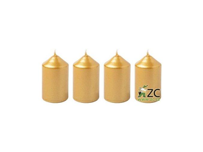 Svíčka adventní 40 x 60 mm  4 ks - metalická zlatá