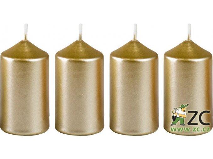 Svíčka adventní 40 x 75 mm  4 ks - metalická bílé zlato