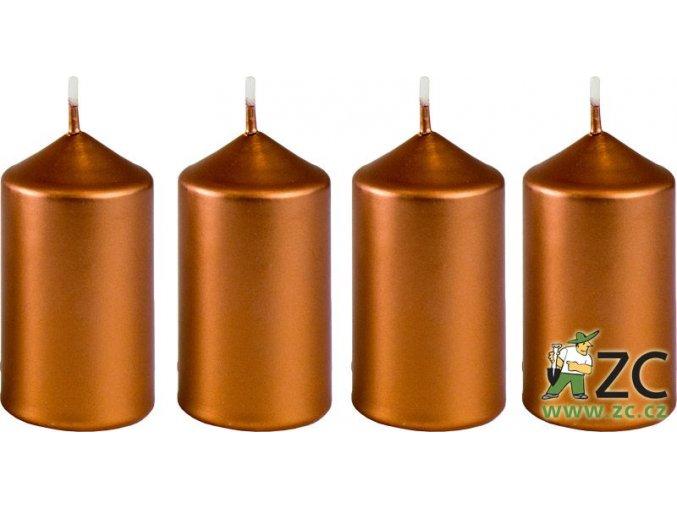 Svíčka adventní 40 x 75 mm  4 ks - metalická bronz