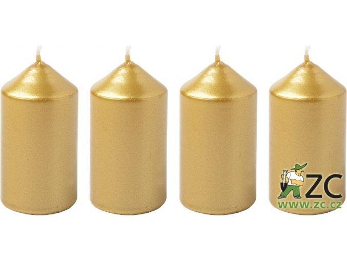 Svíčka adventní 40 x 75 mm  4 ks - metalická zlatá