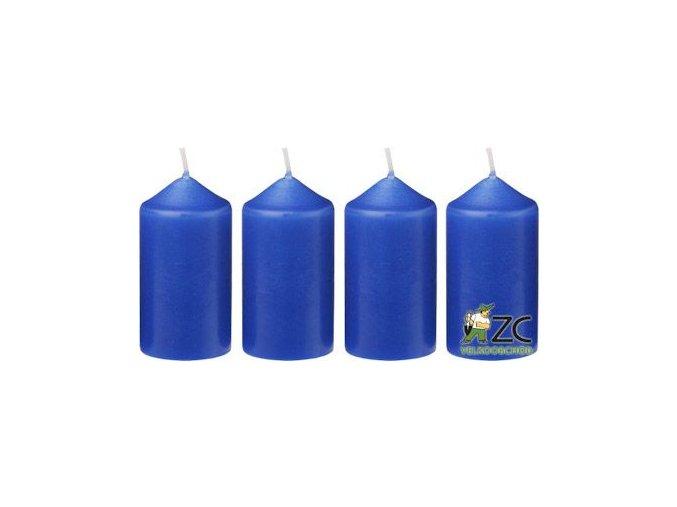 Svíčka adventní 40 x 75 mm  4 ks - modrá