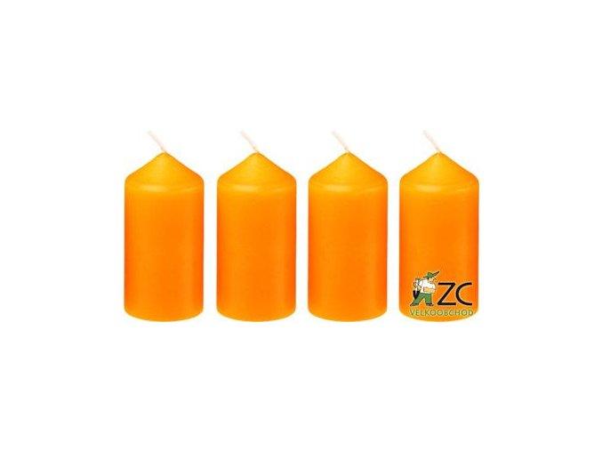 Svíčka adventní 40 x 75 mm  4 ks - oranžová