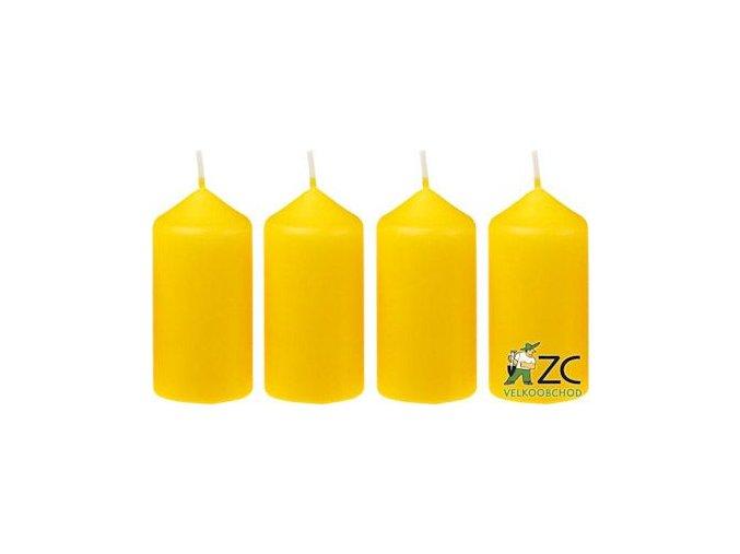 Svíčka adventní 40 x 75 mm  4 ks - žlutá