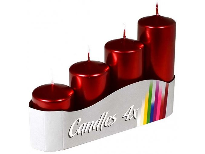 Svíčka adventní schody 4 ks / 50 mm - metalická červená
