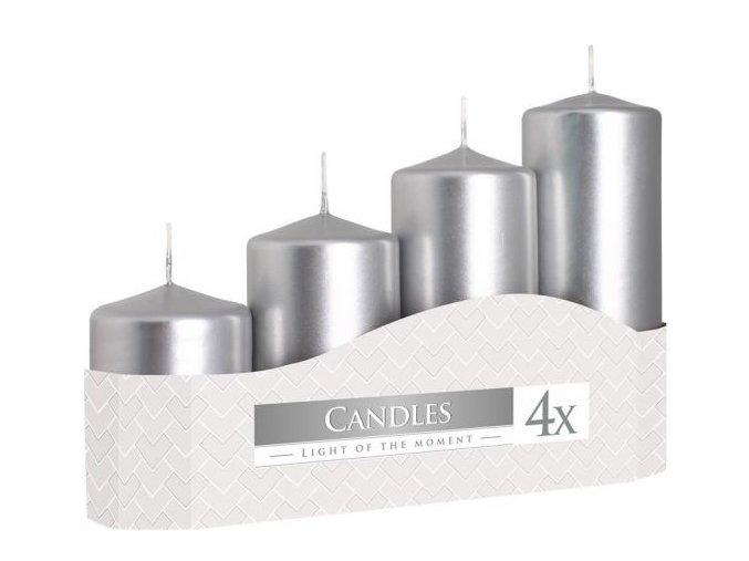 Svíčka adventní schody 4 ks / 50 mm - metalická stříbrná