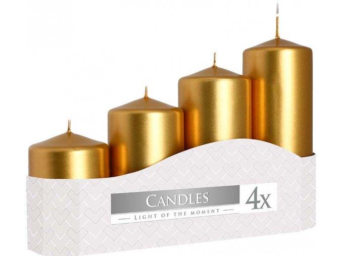Svíčka adventní schody 4 ks / 50 mm - metalická zlatá