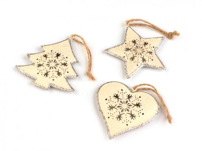 Dekorace - kovová vánoční hvězda, srdce, stromek