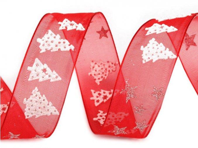 Stuha vánoční motiv - červená stromeček