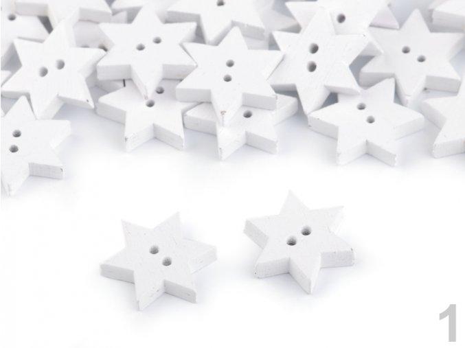 Dekorace - dřevěný knoflík hvězda