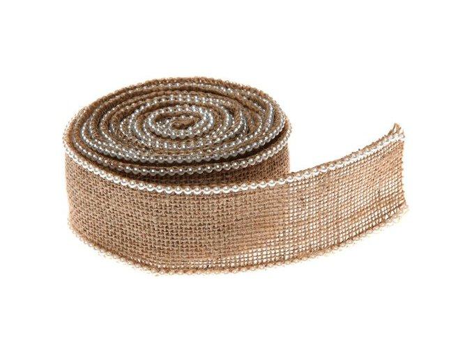 Jutová stuha s perlami 5 cm x 3 m - natur
