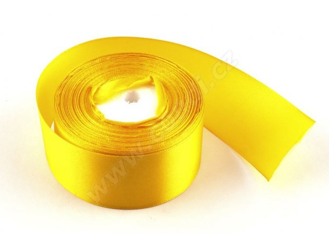 Stuha saténová 4 cm x 23 m - žlutá
