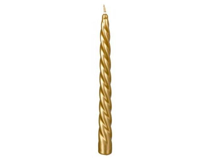 Svíčka kroucená 23 x 230 Metal Elegance zlatá