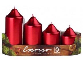 Svíčka adventní schody 4 ks / 50 mm - metal červená