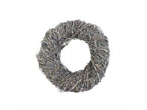 Věnec proutí - kruh 24 cm šedostříbrný