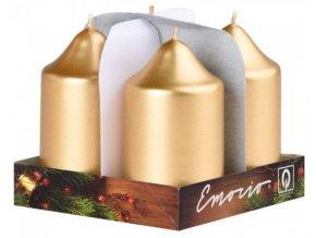 Svíčka válec 4 ks 50 x 90 - metal zlatá