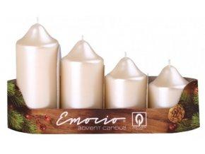 Svíčka adventní schody 4 ks - perla krém metal pr.50
