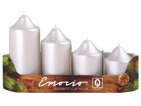 Svíčka adventní schody 4 ks / 50 mm - perla bílá metal