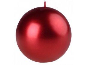 Svíčka koule -  8 cm, met.červená