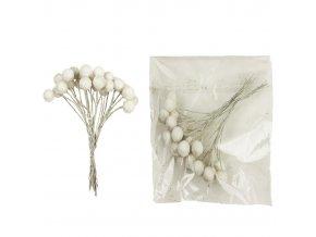 Dekorace - kuličky bílé s glitry na drátku Ø 1 cm