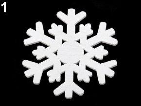 Dekorace - dřevěná vločka bílá, šedá Ø 63 mm