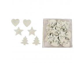 Dekorace - dřevěná hvězda srdce stromek bílé 48 ks