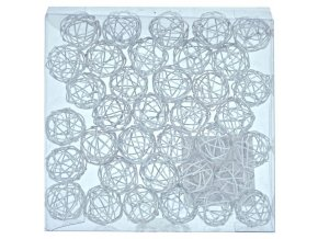 Dekorace -  kuličky drátěné bílé 2 cm