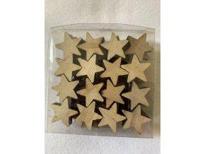 Dekorace - dřevěná hvězda přírodní 2.2 cm