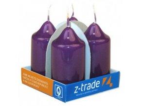 Svíčka válec 4 ks 40 x 75 - lak fialová
