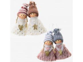 Dekorace - děti anděl textilní sada 2 ks