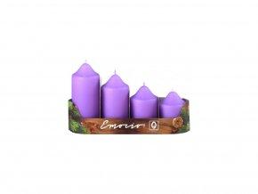 Svíčka adventní schody 4 ks 50 mm - světle fialové