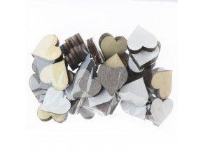 Dekorace - dřevěná srdce mix 36 ks
