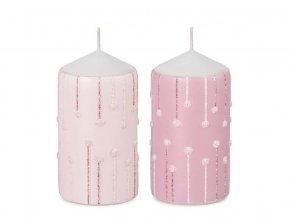 Svíčka  válec  60 X 110 MM růžová s dekorací