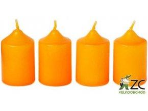 Svíčka adventní 40 x 60 mm  4 ks - oranžová